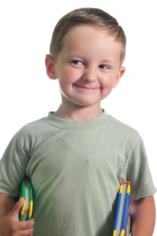 Free Smiling Boy With Books Royalty Free Stock Photos - 9887378