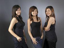 Free Three Beautiful Young Asian Woman Stock Photo - 9887470