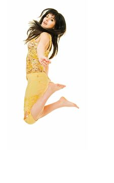 Jumping Brunette Royalty Free Stock Images