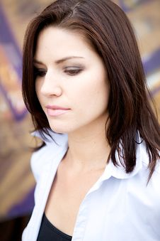 Free Beautiful Brunette In A Collared Shirt Royalty Free Stock Images - 9888419