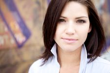 Free Beautiful Brunette In A Collared Shirt Stock Photography - 9888422