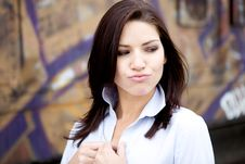 Free Beautiful Brunette In A Collared Shirt Stock Photography - 9888532