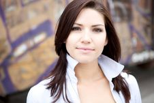 Free Beautiful Brunette In A Collared Shirt Royalty Free Stock Photo - 9888555
