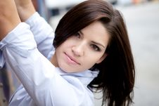 Free Beautiful Brunette In A Collared Shirt Royalty Free Stock Images - 9888569