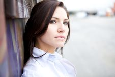 Free Beautiful Brunette In A Collared Shirt Stock Images - 9888594