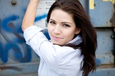 Free Beautiful Brunette In A Collared Shirt Stock Photo - 9888750