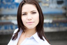 Free Beautiful Brunette In A Collared Shirt Royalty Free Stock Images - 9888829