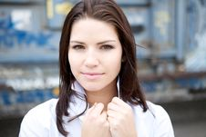 Free Beautiful Brunette In A Collared Shirt Stock Photos - 9888883