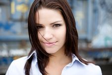 Free Beautiful Brunette In A Collared Shirt Stock Images - 9888884