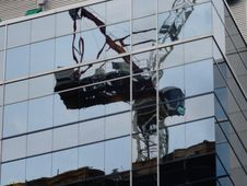 Free Reflection Of The Construction Crane, At Massey Tower, On Yonge Street, 2017 08 22 -h Stock Image - 98864131