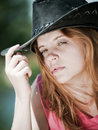 Free Young Pretty Girl In Cowboy Hat Royalty Free Stock Photo - 9891055