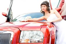 Free Beauty Bride Woman With Limousine Stock Image - 9892221