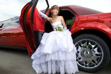 Beauty Bride Woman With Limousine Stock Images