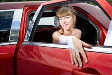 Beauty Bride Woman With Limousine Stock Photography