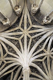 Ceiling Pattern Of Gothic Building Royalty Free Stock Photo