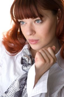 Red Haired Young Woman And Her Hand Close-up Royalty Free Stock Photography