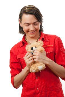 Free Young Guy With His Loved Toy Stock Photography - 9893202