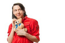Free Young Guy With His Loved Toy Stock Images - 9893214