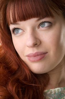 Red Haired Girl Close-up Stock Images