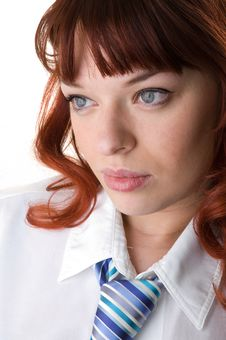 Free Upset Red Haired Businesswoman Close-up Stock Photo - 9893270