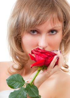 Free Blonde Face Portrait With Red Rose Stock Photography - 9893322