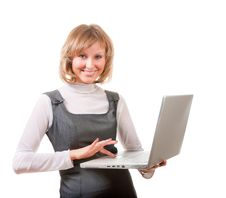 Free Cute Blonde With Laptop Royalty Free Stock Photo - 9893325