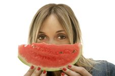 Woman About To Enjoy Slice Of Watermelon Stock Photography