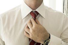 Free Businessman Adjusting Tie Stock Image - 9894091