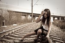 Free Malicious Girl On Rails Royalty Free Stock Photography - 9894127