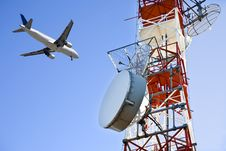 Free Televisio Antenna With Airplane Royalty Free Stock Image - 9894286