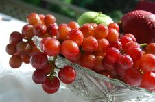 Fresh And Juicy Grapes In A Crystal Bowl Royalty Free Stock Image