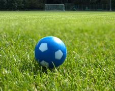 Free Small Blue Soccer Ball Against Goal Royalty Free Stock Images - 9895129