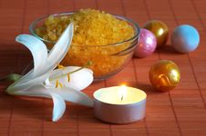 Bath Salt And Lily On Bamboo Mat Stock Photo