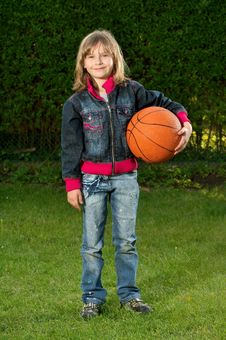Free Young Girl And Ball Royalty Free Stock Photos - 9895888