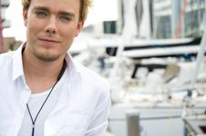 Free Young Man At A Yachtclub Stock Image - 9896011