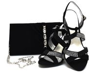 Free Black Suede Female Shoes And Handbag With Pastes Royalty Free Stock Images - 9896959