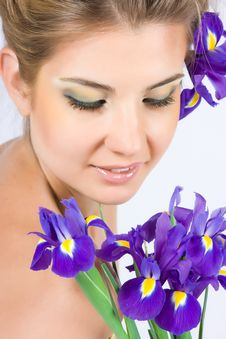 Free Girl With Gladiolus Royalty Free Stock Photos - 9897968