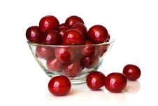 Free Sour Cherries In Glass Dish Stock Images - 9898024
