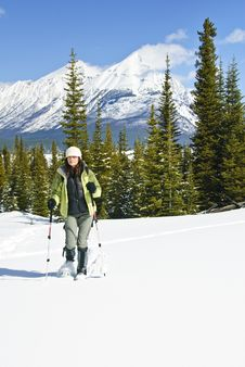 Woman Snowshoeing In The Canadian Rockies Royalty Free Stock Photos