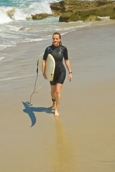 Female Surfer Stock Photo