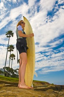 Female Surfer Stock Photography
