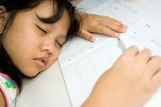 Free Girl Fall Asleep During Study Royalty Free Stock Images - 9898499
