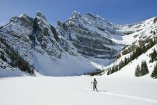 Woman Snowshoeing In The Canadian Rockies Royalty Free Stock Images
