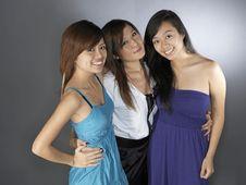 Free Three Girlfriends In Dress Royalty Free Stock Photo - 9899025