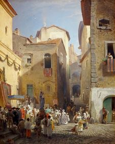 Free &x22;Une Fête à Genazzano&x22;, Oswald Achenbach, Vers 1865. Royalty Free Stock Images - 98960789