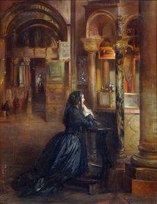 Free &x22;Femme En Prière à Saint-Marc De Venise&x22;, Attribué à Ernest Meissonier. Stock Images - 98960814