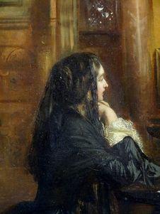 Free &x22;Femme En Prière à Saint-Marc De Venise&x22; &x28;détail&x29;, Attribué à Ernest Meissonier. Stock Photos - 98960823