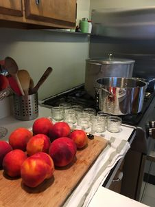 Free Peaches With Jam Jars And Boiling Water Bath Canner Stock Image - 98960931