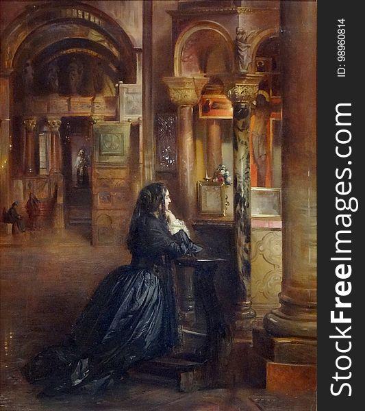 &x22;Femme en prière à Saint-Marc de Venise&x22;, attribué à Ernest Meissonier.