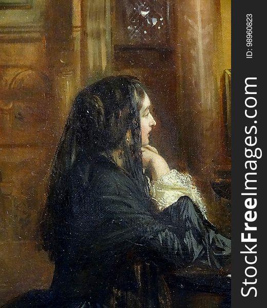 &x22;Femme en prière à Saint-Marc de Venise&x22; &x28;détail&x29;, attribué à Ernest Meissonier.